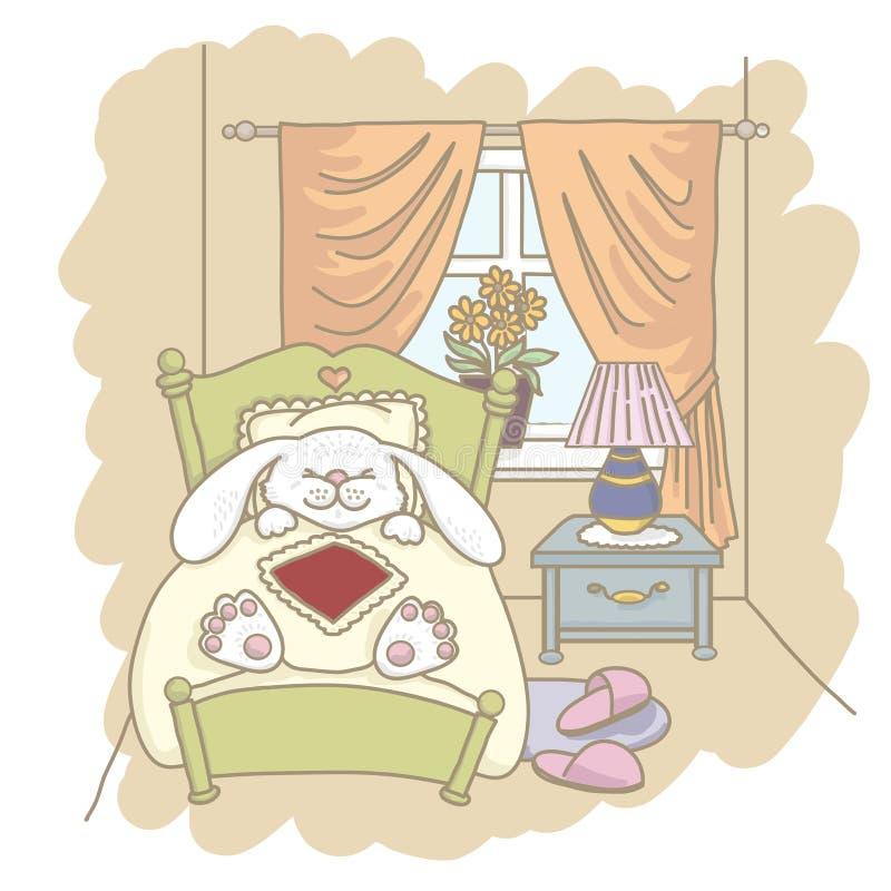 Rabbit sleeps in bed stock illustration