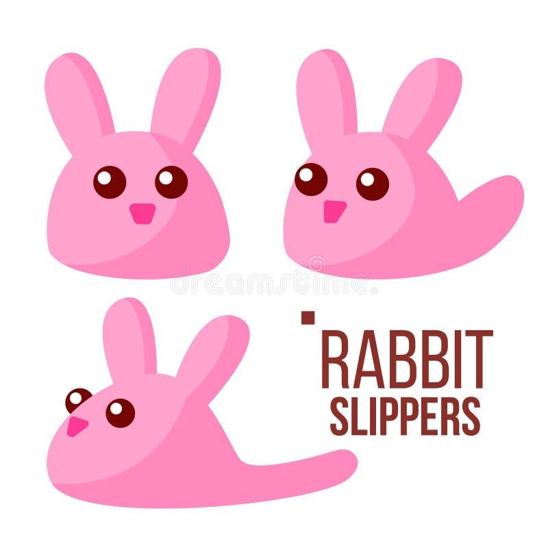 Rabbit Slippers Vector. Pink Female Home Footwear. Isolated Flat Cartoon Illustration vector illustration