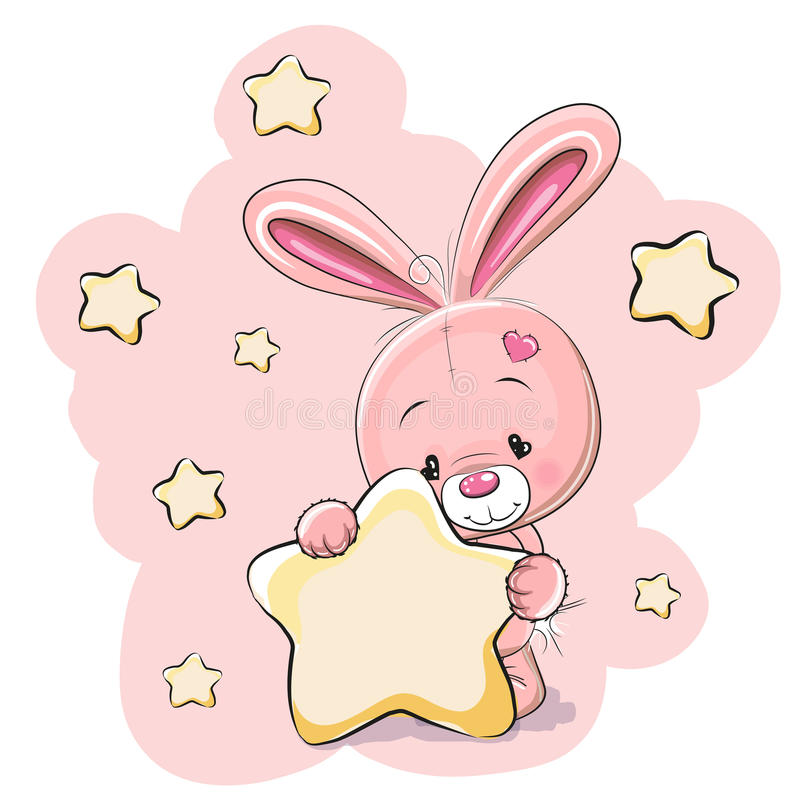 Rabbit with star. Rabbit with a star on a stars background vector illustration