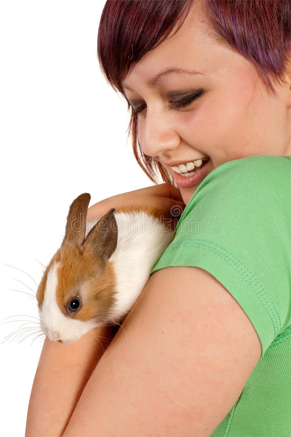 Rabbit and teenager royalty free stock image
