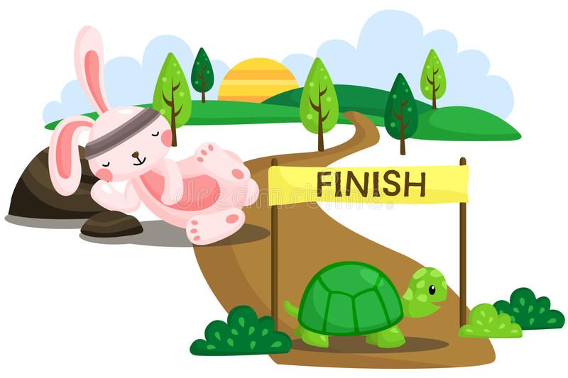 Rabbit and Tortoise royalty free illustration