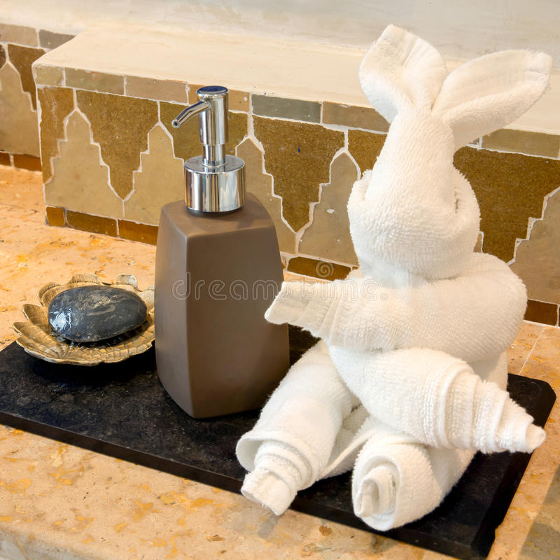 Rabbit Towel with Hand Gel and Soap stock photos