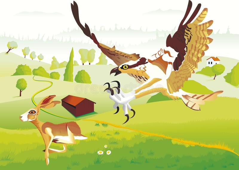 A rabbit try to escape of an eagle. An hungry eagle try to catch a poor rabbit. In landscape with hills and fields vector illustration