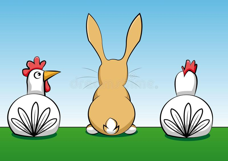 Rabbit With Two Hens Royalty Free Stock Images