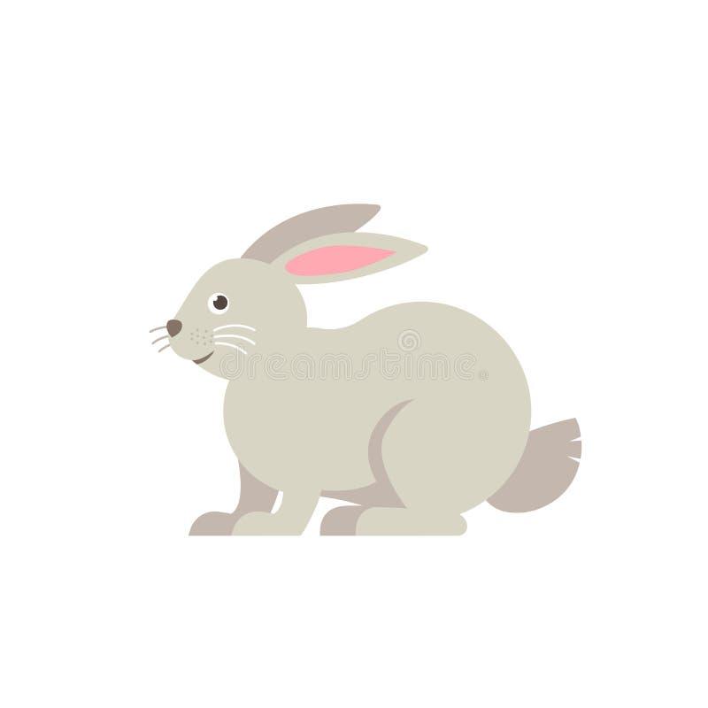 Rabbit vector flat illustration isolated on white background. Cute farm animal rabbit icon cartoon character. royalty free illustration