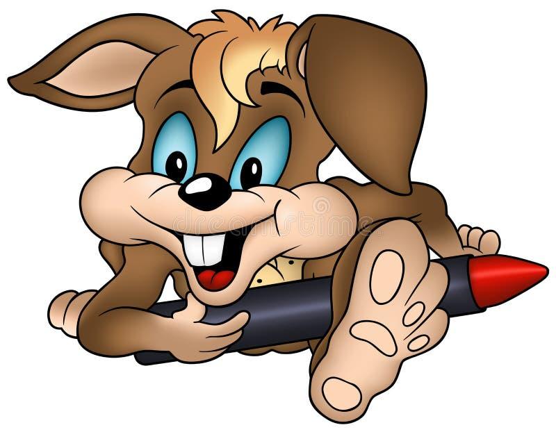 Rabbit And Wax Crayon Royalty Free Stock Images