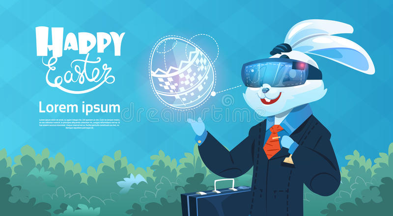 Rabbit Wear Digital Glasses Virtual Reality Decorated Eggs Easter Holiday Greeting Card stock illustration
