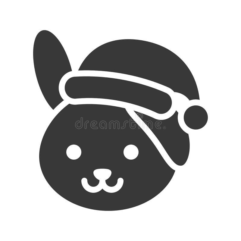 Rabbit wearing santa hat silhouette icon design. Rabbit wearing santa hat, silhouette icon design stock illustration