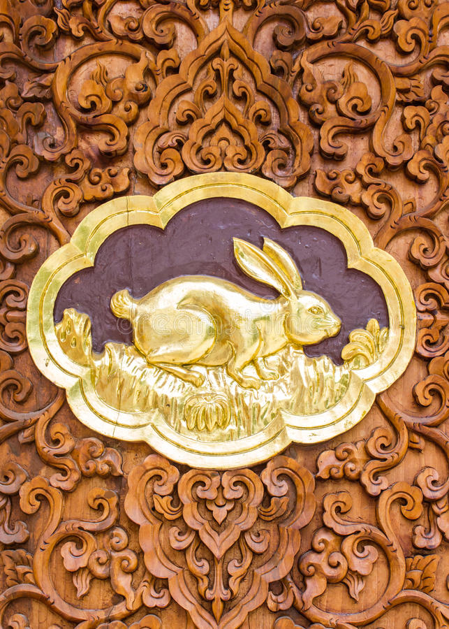 Rabbit Wood Carving Wall Sculptures In Thai Temple Stock Image ...