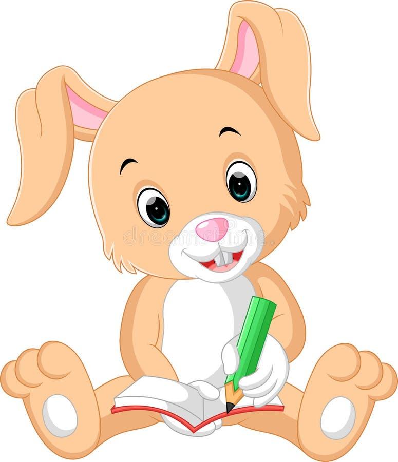 Rabbit writing on the book cartoon. Illustration of rabbit writing on the book cartoon royalty free illustration