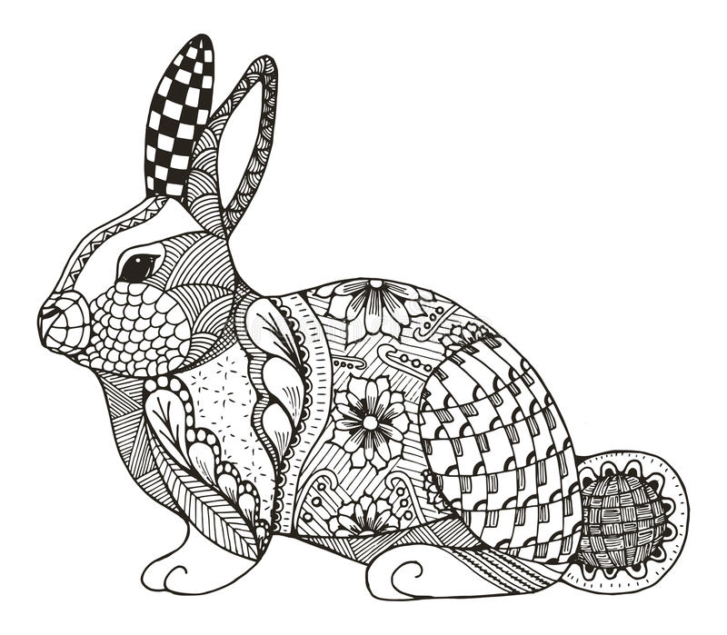 Rabbit zentangle stylized stock image