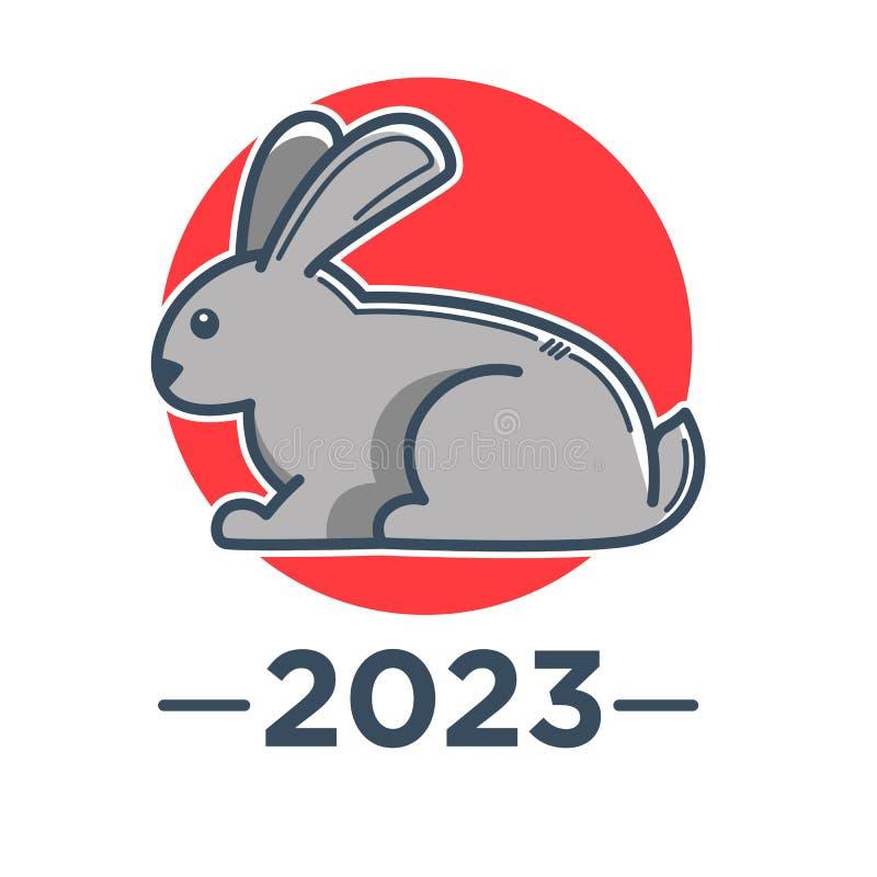 Rabbit zodiac sign, Chinese horoscope and New Year symbol stock illustration