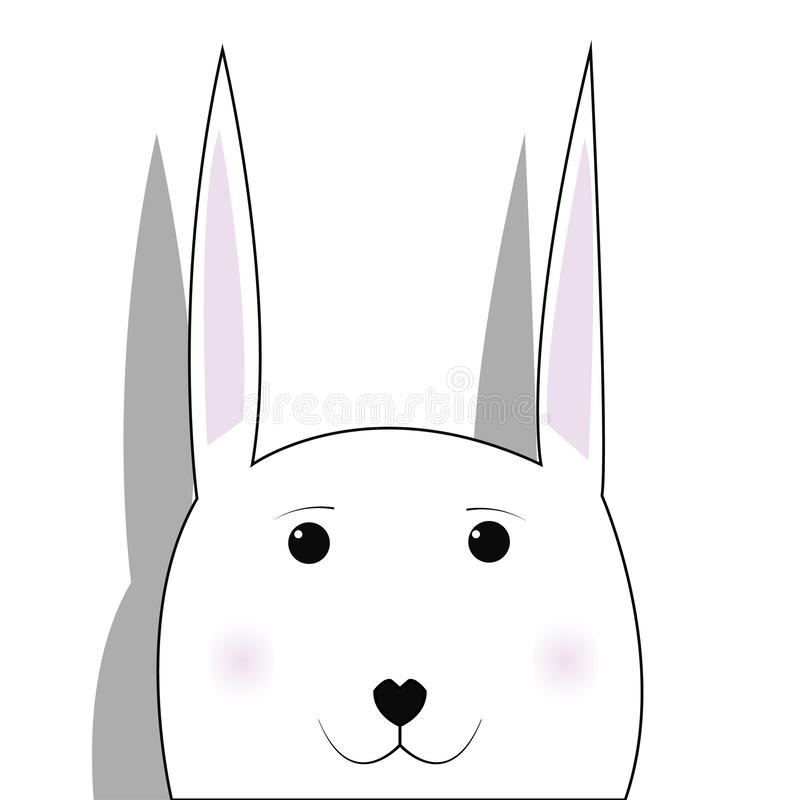 RabbitCute smiling rabbit vector cartoon illustration. Wild zoo animal character. Fluffy adorable pet looking straight. Forest fau vector illustration