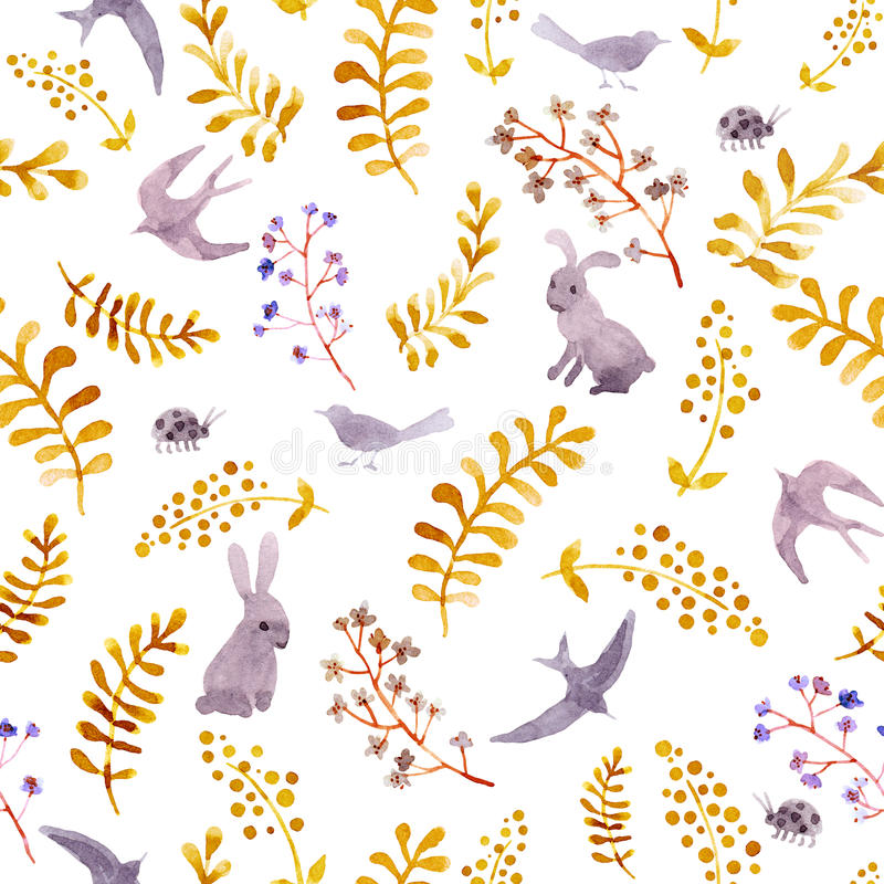 Rabbits, birds, ladybugs, autumn leaves. Repeating cute ditsy pattern. Watercolor royalty free illustration
