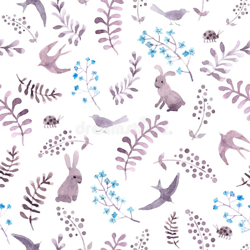 Rabbits, birds, ladybugs in flowers in meadow. Repeating cute ditsy pattern. Watercolor royalty free illustration
