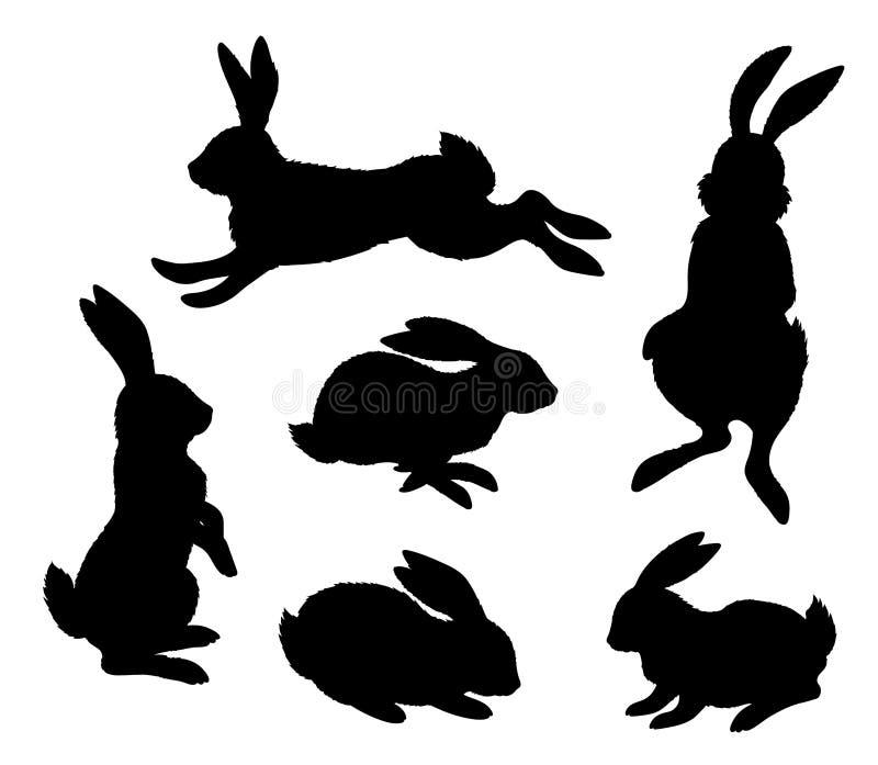Rabbits. Black silhouette on white background vector illustration