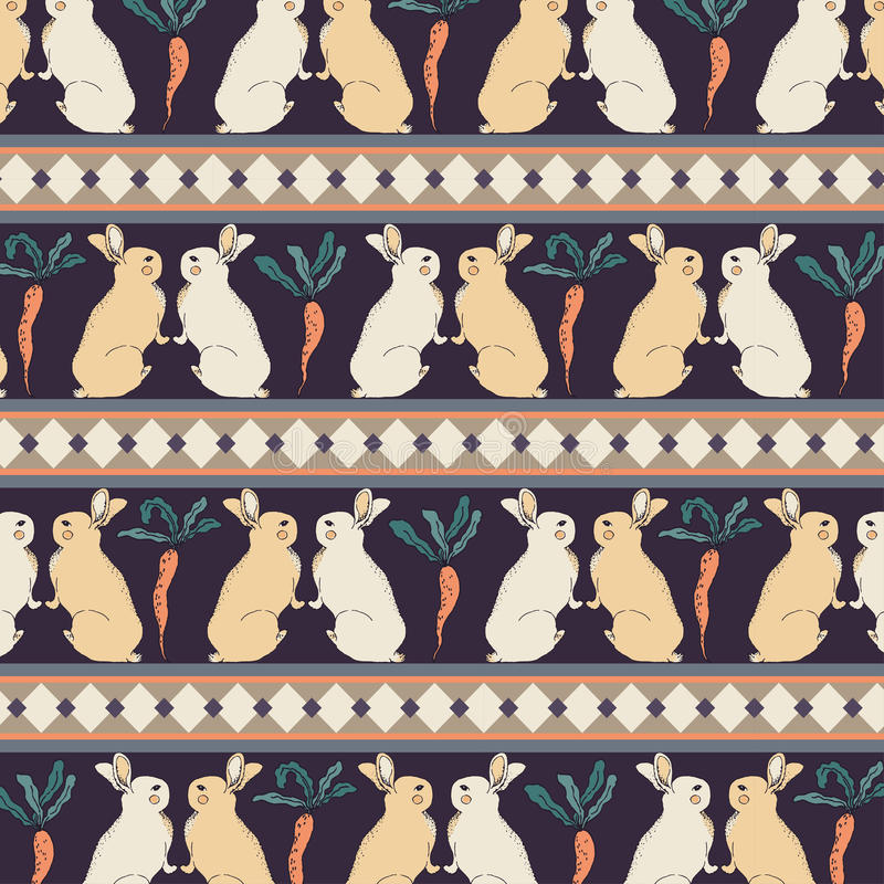Rabbits with Carrots Retro Vintage Style Seamless Pattern Vector . stock photography
