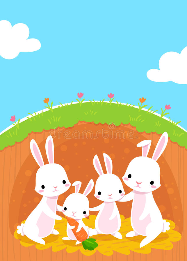 Rabbits family stock illustration