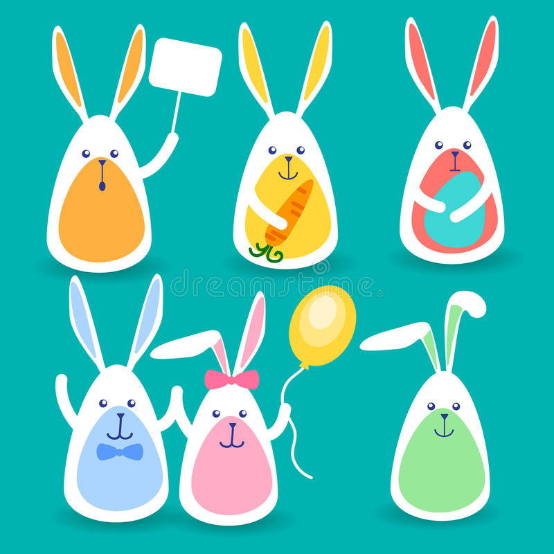 Rabbits Group Hold Banner, Colorful Eggs, Balloon, Carrot Happy Easter Holiday Set Collection stock illustration