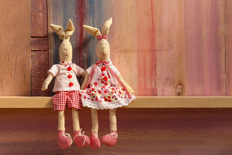 Rabbits in love wedding invitation Valentines day stock photo