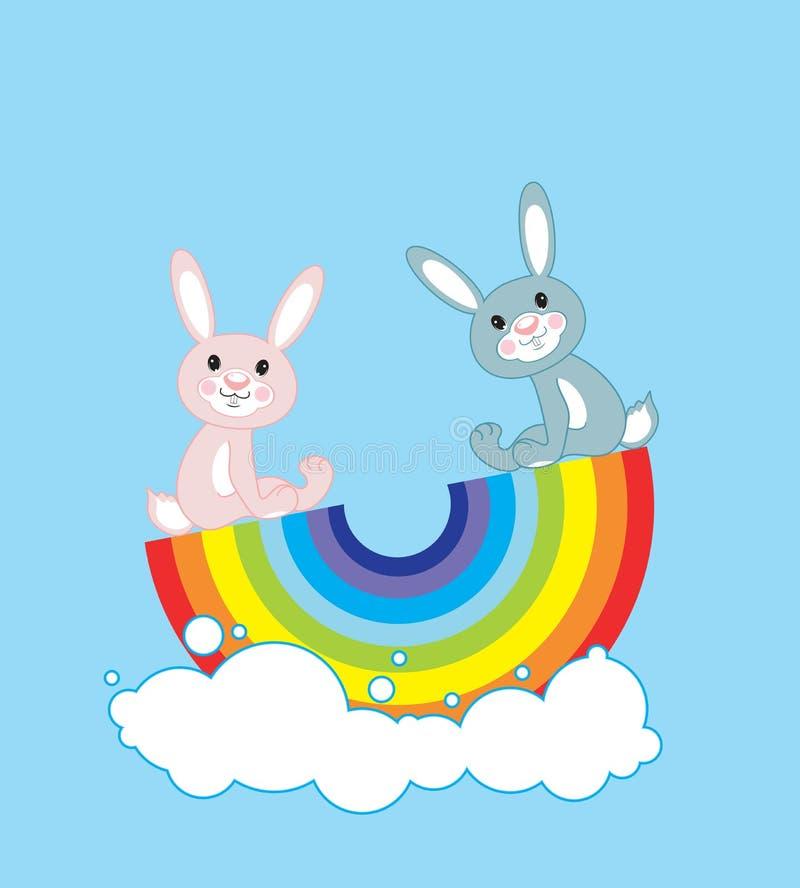 Free Rabbits On A Rainbow Royalty Free Stock Photos - 17174718