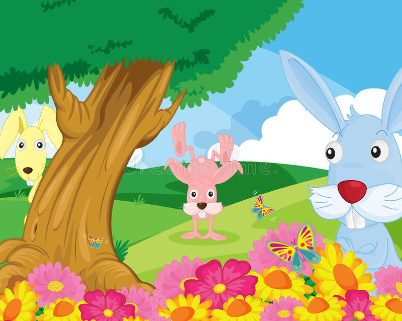 Download Rabbits in park stock vector. Image of picture, animal - 24321553