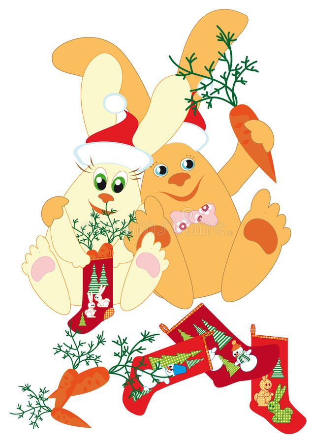 Rabbits Prepare Gifts For New Year Royalty Free Stock Images
