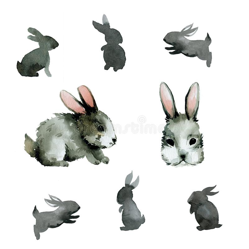 Set of different gray rabbits watercolor stock illustration