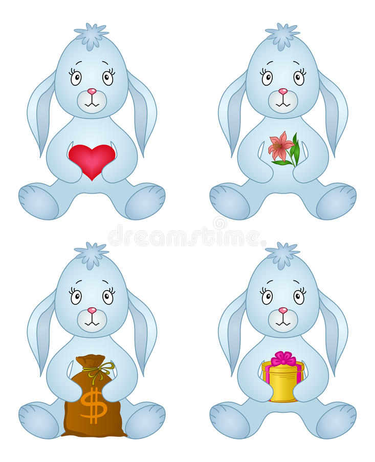 Rabbits sitting with gift, set royalty free illustration