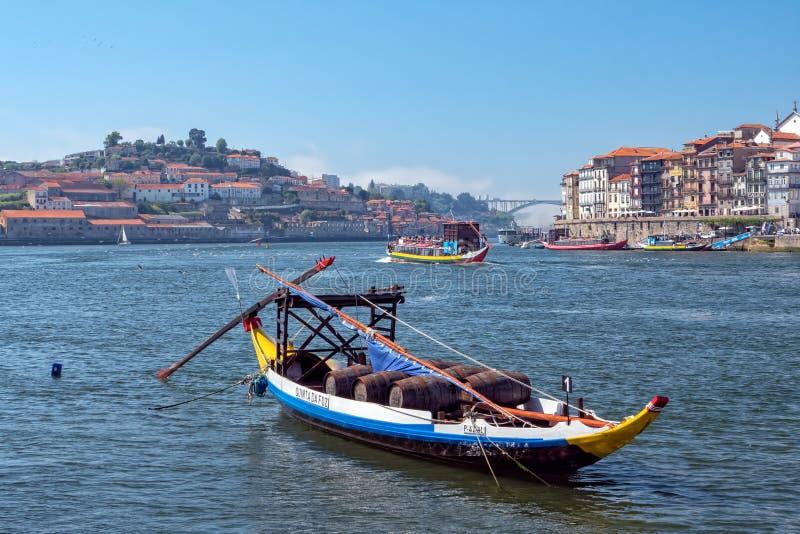Rabelo -一艘木葡萄牙货船,盖亚,葡萄牙 图库摄影