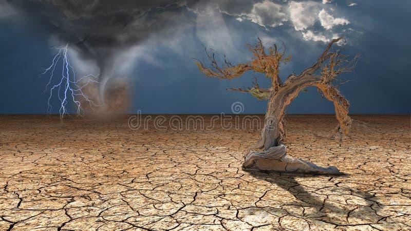 Rabias de la tormenta en desierto stock de ilustración