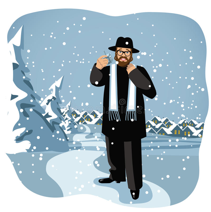 Rabin trzyma dreidel w śnieżnej scenie ilustracja wektor