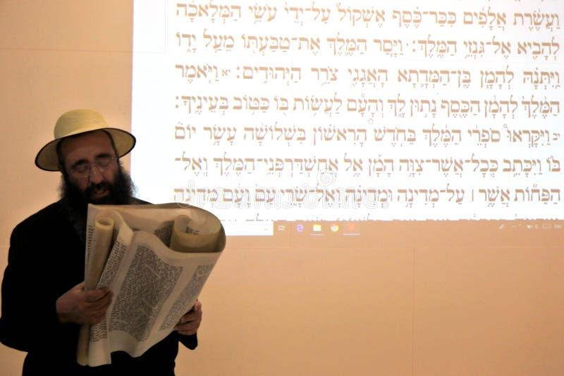 Rabino judaico que lê o rolo de Esther foto de stock