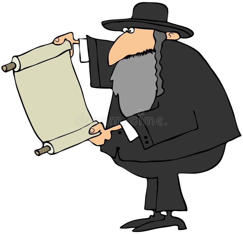 Rabino que prende um rolo ilustração stock