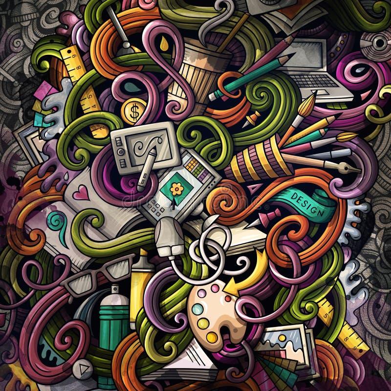 Rabisca a ilustração do projeto gráfico Fundo creativo da arte ilustração stock
