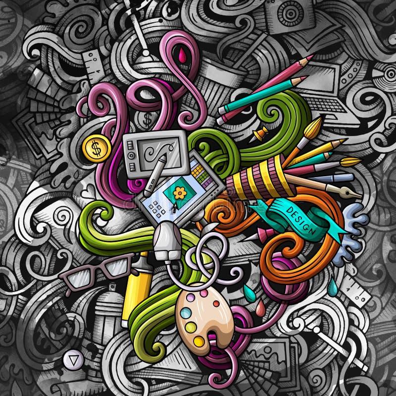 Rabisca a ilustração do projeto gráfico Fundo creativo da arte ilustração royalty free