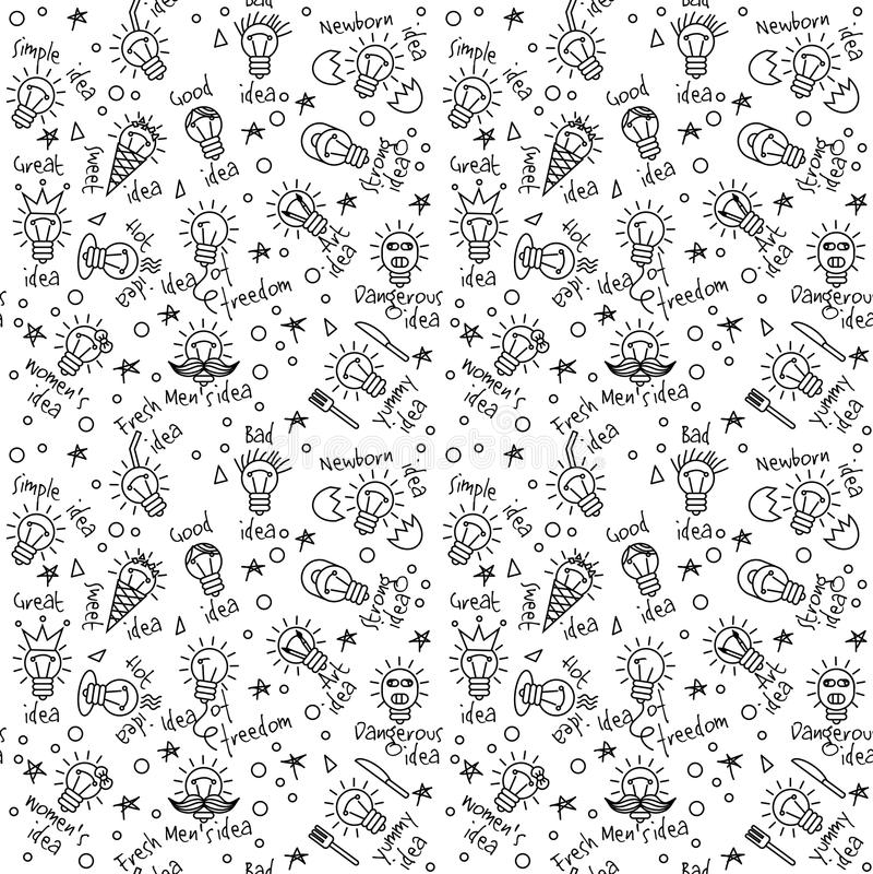 Rabisca linhas preto e branco teste padrão sem emenda das ideias criativas ilustração stock