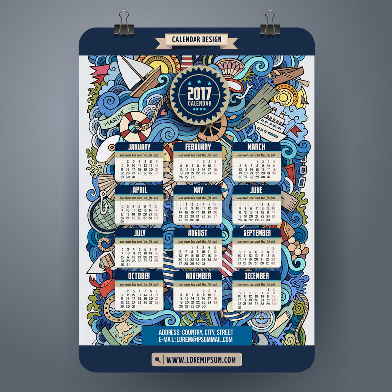Rabisca o calendário marinho náutico dos desenhos animados 2017 anos ilustração stock
