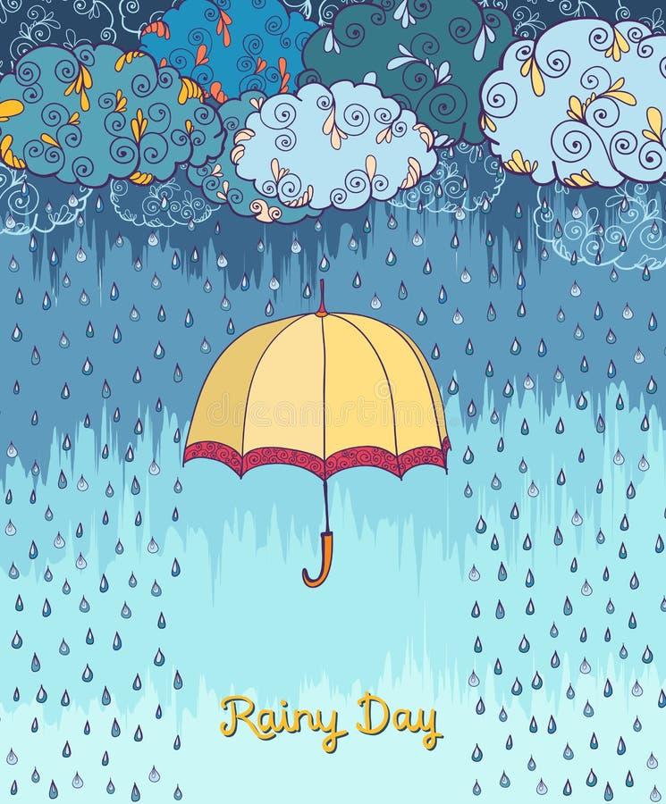 Rabisca o cartaz decorativo do tempo chuvoso ilustração royalty free