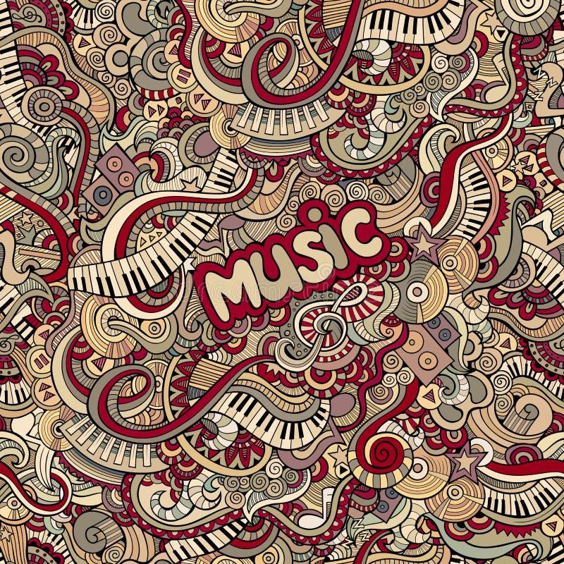 Rabisca o teste padrão sem emenda da música ilustração stock