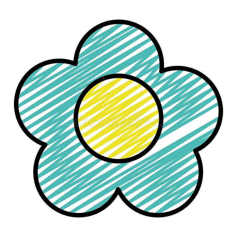 Rabiscar a beleza que a flor exótica com pétalas projeta ilustração stock