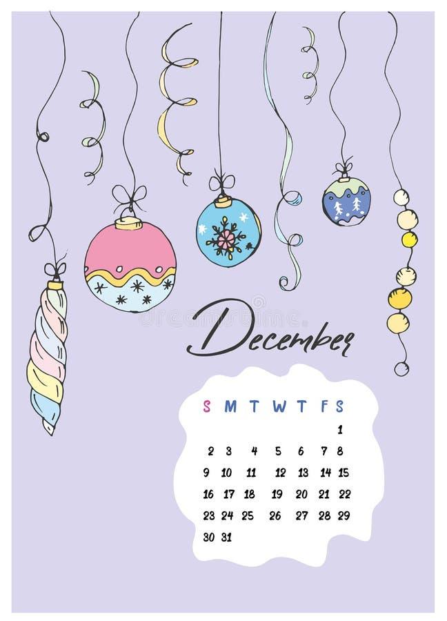 Rabiscar bolas do Natal e um calendário para dezembro de 2018 fotografia de stock royalty free