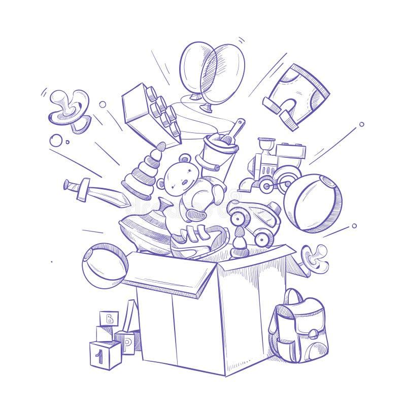 Rabiscar a caixa da compra com lote do brinquedo e das compras das crianças Ilustração desenhada mão do vetor ilustração do vetor