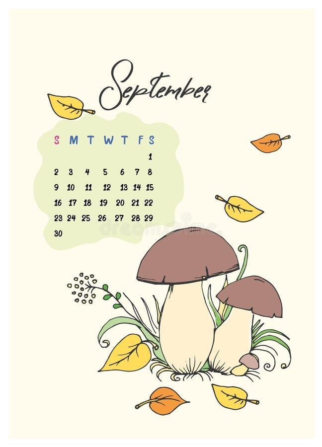 Rabiscar cogumelos e folhas no calendário da grama para o mês de setembro de 2018 imagem de stock