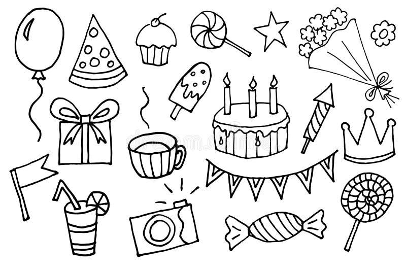 rabiscar elementos tirados mão do aniversário dos desenhos animados do vetor com caixa de presente, pirulito, bolo e queque, flor ilustração stock