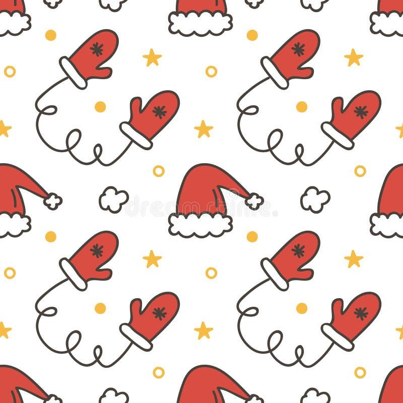 Rabiscar, fundo sem emenda tirado mão do teste padrão do Natal do inverno com mitenes e chapéus de Santa ilustração stock