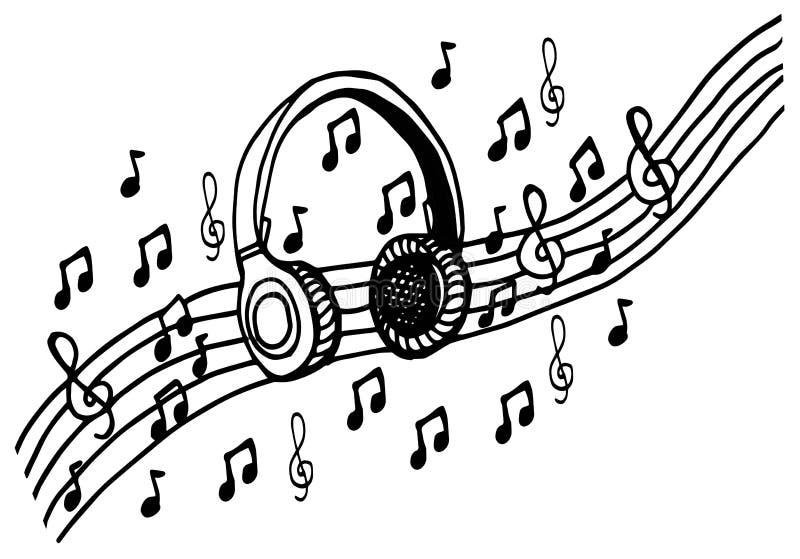 Rabiscar A Ilustracao Com Notas Musicais Desenho Do Vetor Dos