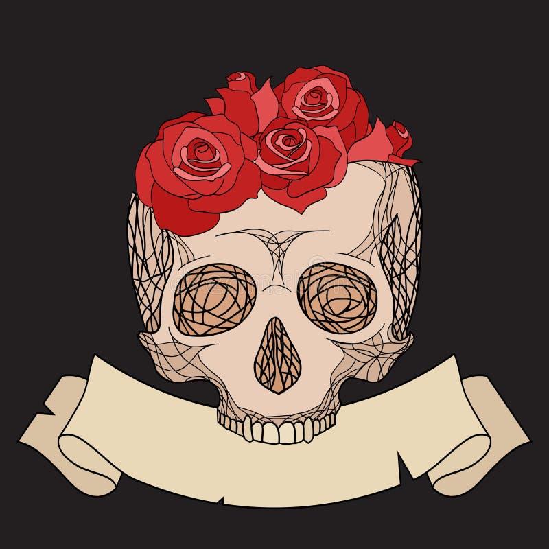 Rabiscar a ilustração de um crânio humano com rosas ilustração royalty free