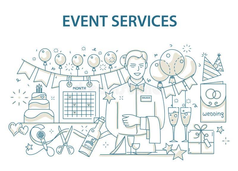 Rabiscar o conceito de projeto do estilo do evento especial e da organização de festa de anos feliz, agência de serviço de abaste ilustração stock