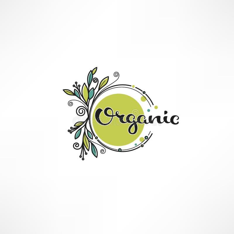 Rabiscar o eco, bio, a natureza e as folhas e o emblema orgânicos das plantas, EL ilustração royalty free